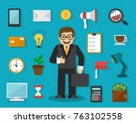 set of businessman icons and... | Shutterstock .eps vector #763102558