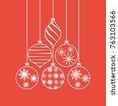 set of white christmas tree... | Shutterstock .eps vector #763103566