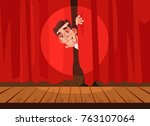 man afraid of perform stage.... | Shutterstock .eps vector #763107064