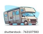 Recreation Vehicle cartoon illustration - stock vector