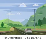 moving car on road past forest. ... | Shutterstock .eps vector #763107643
