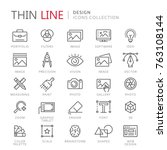 collection of design thin line... | Shutterstock .eps vector #763108144