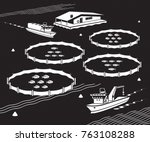 Sea Fish Farm   Vector...