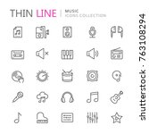 collection of musical thin line ... | Shutterstock .eps vector #763108294