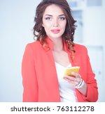 beautiful businesswoman using