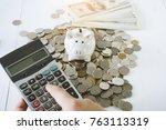piggy bank saving money concept ... | Shutterstock . vector #763113319
