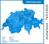 the detailed map of the... | Shutterstock .eps vector #763115020