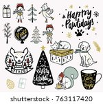 christmas illustration doodles. ... | Shutterstock .eps vector #763117420