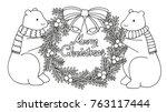 cute polar bears holding... | Shutterstock .eps vector #763117444