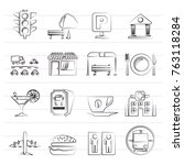 urban and city elements icons   ...   Shutterstock .eps vector #763118284