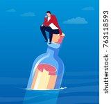 man sits on a bottle drifting... | Shutterstock .eps vector #763118593