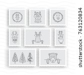 set of postage stamps | Shutterstock .eps vector #763120834