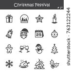 christmas festival icon set 1 . | Shutterstock .eps vector #763122244
