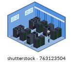 isometric 3d vector... | Shutterstock .eps vector #763123504