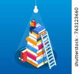 man read the book on the pile... | Shutterstock .eps vector #763123660