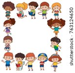 border template with kids in... | Shutterstock .eps vector #763124650