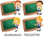four frames with happy children ... | Shutterstock .eps vector #763124740