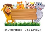 wooden sign with many animals... | Shutterstock .eps vector #763124824