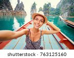 happy vacation in thailand.... | Shutterstock . vector #763125160