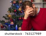 man felling depressed and... | Shutterstock . vector #763127989