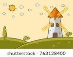 nature landscape with a... | Shutterstock .eps vector #763128400