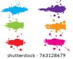 abstract vector splatter label... | Shutterstock .eps vector #763128679