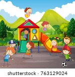 simple kids playing in park | Shutterstock .eps vector #763129024