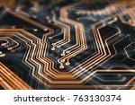 3d rendering. circuit board... | Shutterstock . vector #763130374