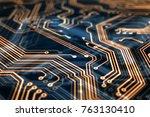 3d rendering. circuit board... | Shutterstock . vector #763130410