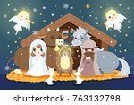 cartoon christmas nativity... | Shutterstock .eps vector #763132798