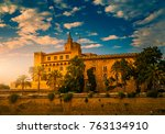 almudaina palace with palm... | Shutterstock . vector #763134910