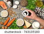 food products useful for growth ... | Shutterstock . vector #763135183