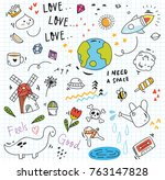 set of colorful doodle on paper ... | Shutterstock .eps vector #763147828