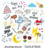 set of colorful doodle on paper ... | Shutterstock .eps vector #763147840