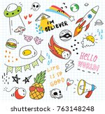 set of colorful doodle on paper ... | Shutterstock .eps vector #763148248