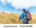 traveler man climbing look at... | Shutterstock . vector #763148488
