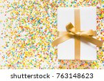 white gift boxes with gold... | Shutterstock . vector #763148623