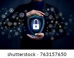 network security system concept ... | Shutterstock . vector #763157650