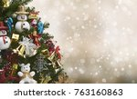 beautiful decorated tree ... | Shutterstock . vector #763160863