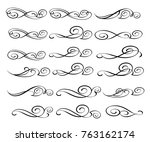 set of decorative elements.... | Shutterstock .eps vector #763162174