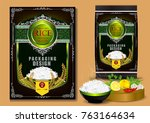 golden and purple rice package... | Shutterstock .eps vector #763164634