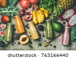 flat lay of colorful smoothies... | Shutterstock . vector #763166440