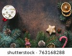 christmas frame with hot... | Shutterstock . vector #763168288