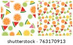 colorful tropical fruits... | Shutterstock .eps vector #763170913