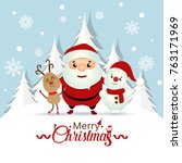 christmas greeting card with... | Shutterstock .eps vector #763171969