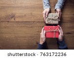 gives a gift christmas and new... | Shutterstock . vector #763172236