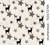 deer and star on white seamless ... | Shutterstock .eps vector #763172704