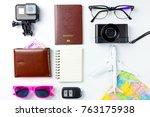 travel planning accessories ... | Shutterstock . vector #763175938