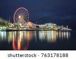 chicago's navy pier with... | Shutterstock . vector #763178188