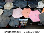 group of sunshade from top view ... | Shutterstock . vector #763179400
